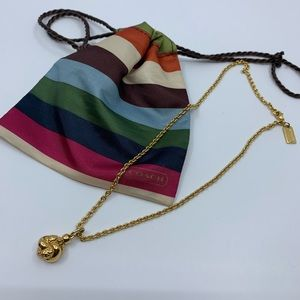 COACH gold chain with knotted pendant necklace